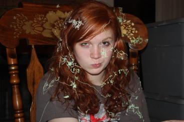 "Precious Redhead giving me ""the eyebrow."""