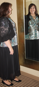 Mirror image of me in my dress.