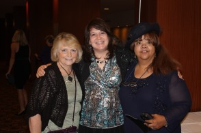 Sharon Srock, Marji Laine, and Bonnie Calhoun at the 2012 ACFW Conference Gala.