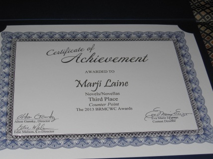 Third Place for my novel Counter Point