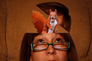A red squirrel coming out of my hinged head.