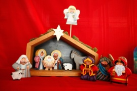 nativity painted wood