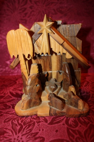 tri-color wood nativity
