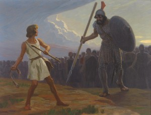 David fights against Goliath