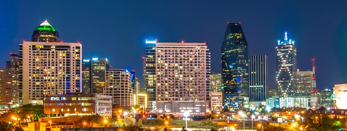 Dallas skyline evening